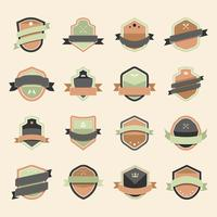 Set of colorful shield icon embellished with banner vectors