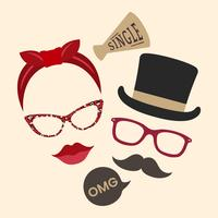 Unisex accessories photo booth props vector