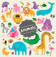 Ilustración de estilo de dibujo conjunto de vida silvestre