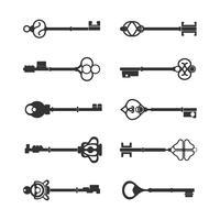 Conjunto de vetores chave de design vintage