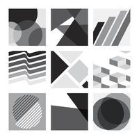 Conjunto de ilustração gráfica suíço monocromático
