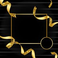 Blank golden emblem with confetti vector