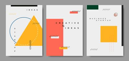 Set of minimal Memphis design start-up poster vector