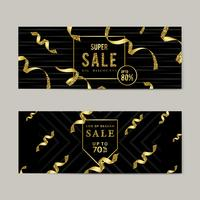 Signe de vente d'or set vector
