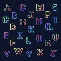 Bunter Retro- Alphabetsatz