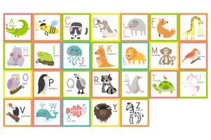Conjunto de alfabeto de animales salvajes