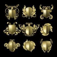 Plantilla de escudo barroco dorado clásico