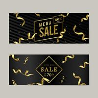 Golden sale sign vector set