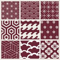 Japanese-inspired pattern vector set