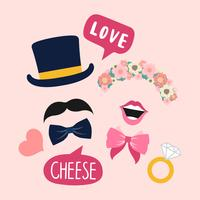 Wedding photo booth props for woman and man vector
