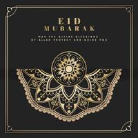Black and gold Eid Mubarak postcard vector