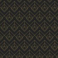 Golden geometric seamless pattern on black background