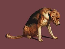 Suspense (1877) by Sir Edwin Landseer, a Victorian bloodhound mastiff waiting. Digitally enhanced by rawpixel.