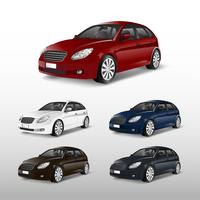 Set of colorful hatchback car vectors