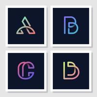 Färgglada retro alfabet vektor uppsättning