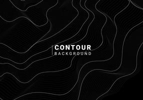 Monochrome abstract contour line illustration