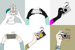 Drawing set of hands taking photos