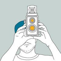 Vecteur, appareil photo argentique