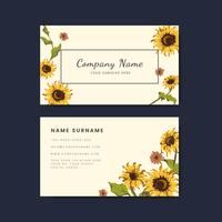 Business card mockups with sunflower design