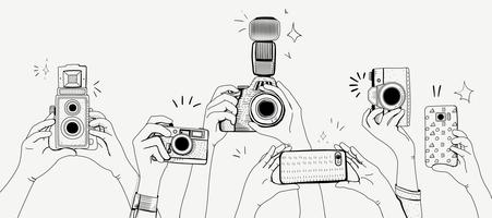 Vector of hands taking photos