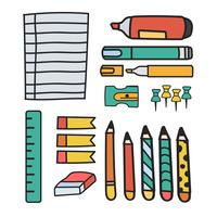 Vector set of stationery doodle style