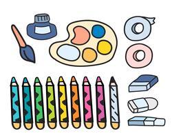Conjunto de vector de arte pinturas papelería estilo doodle
