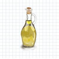 Handgezeichnete Olivenöl Aquarell Stil