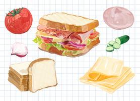 Handritad sandwich akvarell stil