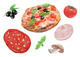 Style d'aquarelle de pizza italienne dessiné à la main
