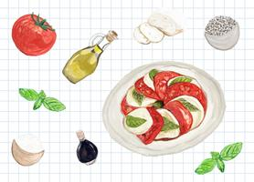 Hand drawn caprese salad watercolor style