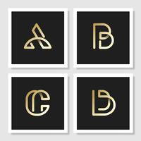 Golden  retro alphabets vector set