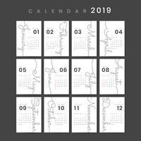 Mockup de calendário de design cursivo
