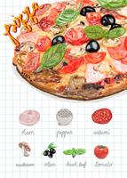 Hand drawn italian pizza watercolor style