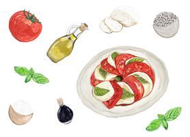 Hand getrokken caprese salade aquarel stijl