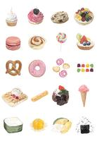 Hand drawn sweets collection watercolor style