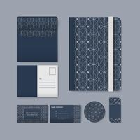 Set of white geometric pattern on blue surface stationery