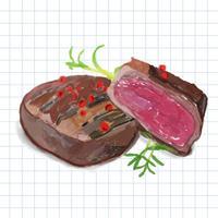 Hand drawn steak watercolor style