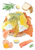 Hand drawn eggs benedict watercolor style
