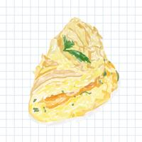 Hand drawn omelette watercolor style