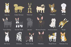 Illustration de différentes races de chiens