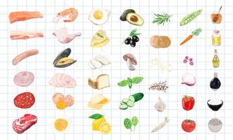 Hand drawn food ingredients watercolor style
