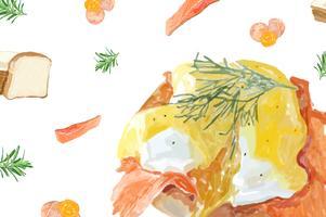 Handdragen äggbenedisk akvarellstil