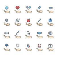 Illustrazione delle icone viventi sane messe