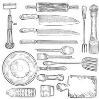 Illustration of a set of kitchen utensils