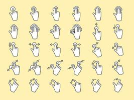 Illustration of touch screen hands gesture in thin line