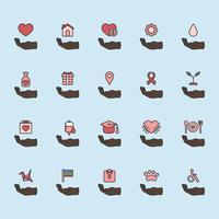 Illustrazione delle icone di supporto di donazione impostate