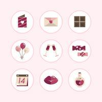 Pastell Alla hjärtans ikonuppsättning