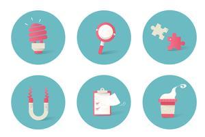 Ilustração de ícones de negócios em fundo azul
