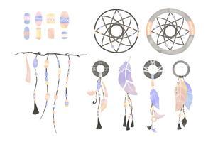 Illustration d'un attrape-rêves orné de plumes