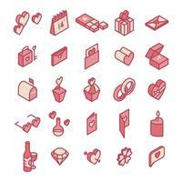 Ilustração, de, valentine's, ícones